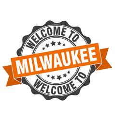 Milwaukee round ribbon seal vector
