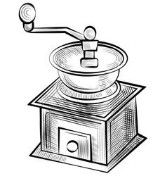 Monochrome coffee grinder sketch retro mill vector
