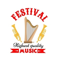Music festival sign with harp and trumpet vector image