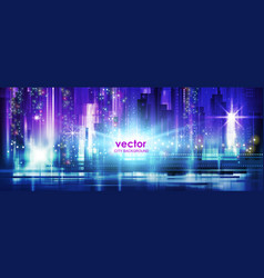 night city background with glowing lights vector image
