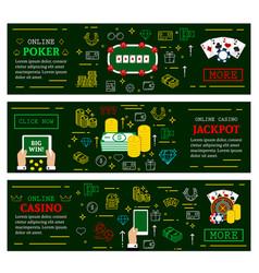 online casino poker jackpot web banners vector image