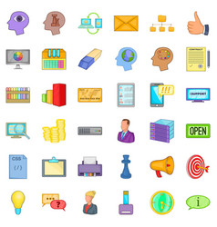 open market icons set cartoon style vector image