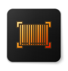 Orange glowing neon barcode icon isolated on white vector