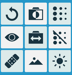 Picture icons set with reload brightness switch vector