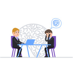 Psychotherapy psychotherapist talks with patients vector