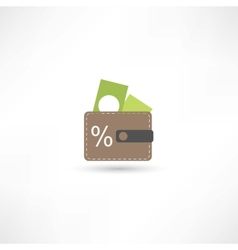 Purse with money vector