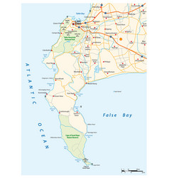 Road map cape peninsula cape town south africa vector