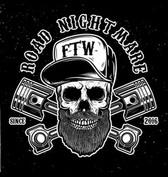 Road nightmare hipster skull in baseball cap with vector
