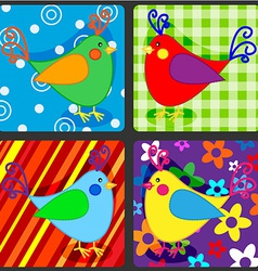 Seamless patchwork birds vector