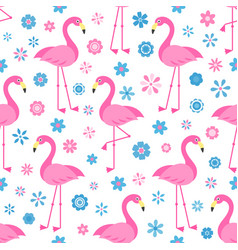 seamless pattern with flamingo birds and flowers vector image