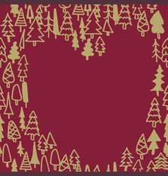 Seamless pattern with hand drawn pine forest heart vector