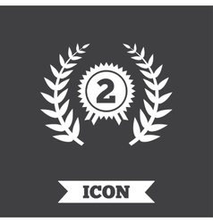 Second place award sign icon Prize for winner vector image
