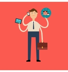 Seller holds the house gadgets and the portfolio vector