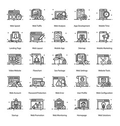 Seo and web line icons pack vector