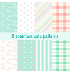 set cute seamless patterns background vector image