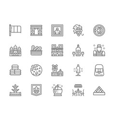 set french culture line icons perfumery vector image