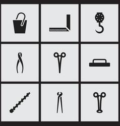 Set of 9 editable tools icons includes symbols vector