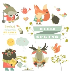 Set of cartoon characters and spring elements vector image
