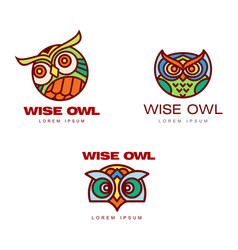 Set of logo logotype templates with owl heads vector