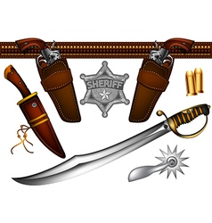 Set of sheriffs weapons and accessories vector