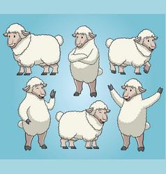 Sheep with cartoon style set vector
