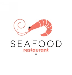 Shrimp logo template Seafood restaurant sign vector image