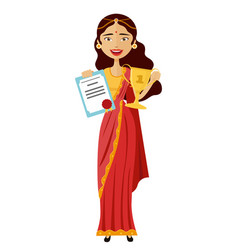 smiling indian woman raising up trophy vector image