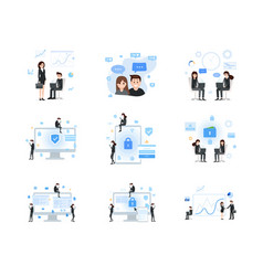 social media and business communication set vector image