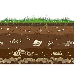 Soil with dinosaur bones vector