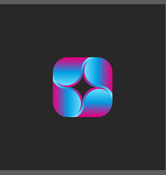 square logo four droplets smooth shape modern vector image