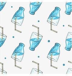 Summer blue cocktail refreshing drinkwith straw vector