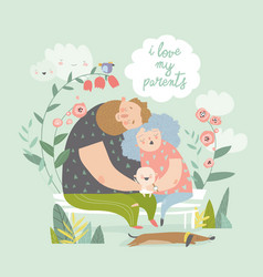 tired parents hugging their joying cute baby vector image