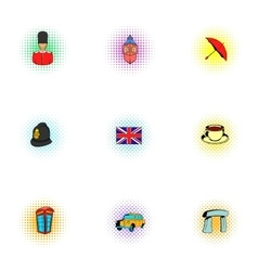 Tourism in United Kingdom icons set pop-art style vector