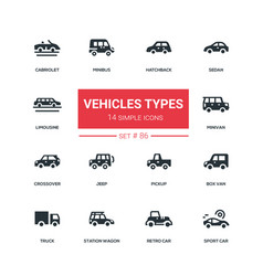 vehicle types - flat design style icons set vector image