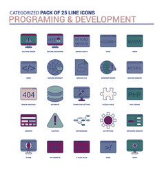 Vintage programming and developement icon set vector