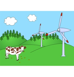 Wind power plants with cow vector