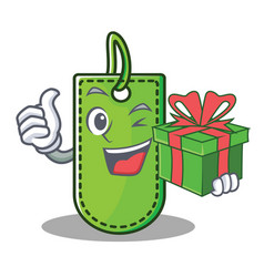 with gift price tag mascot cartoon vector image
