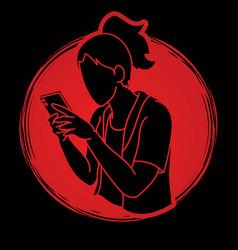 woman typing textwoman using smartphone cartoon vector image