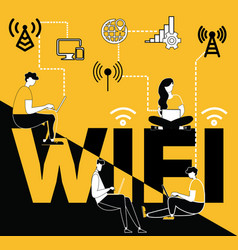 word concept wifi and people doing things vector image