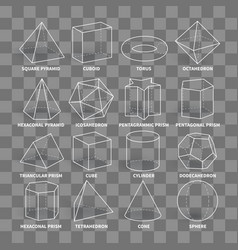 3d math geometric outline shapes isolated on vector image