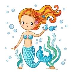 Cute swimming cartoon mermaid vector image