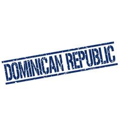 Dominican republic blue square stamp vector