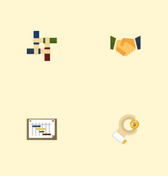 flat icons agreement coin schedule and other vector image vector image