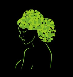 Hair with leaves vector image vector image