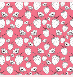 seamless pattern with strawberries pink vector image vector image