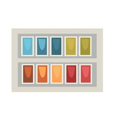 art palette in rectangular box isolated on white vector image vector image
