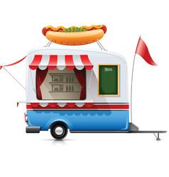 fast food hot dog trailer vector image vector image