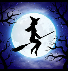 silhouette of witch flying on the broom in vector image