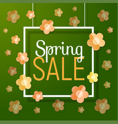 spring sale text with paper frame flowers vector image