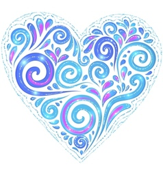 Blue shining heart on dark-blue background vector
